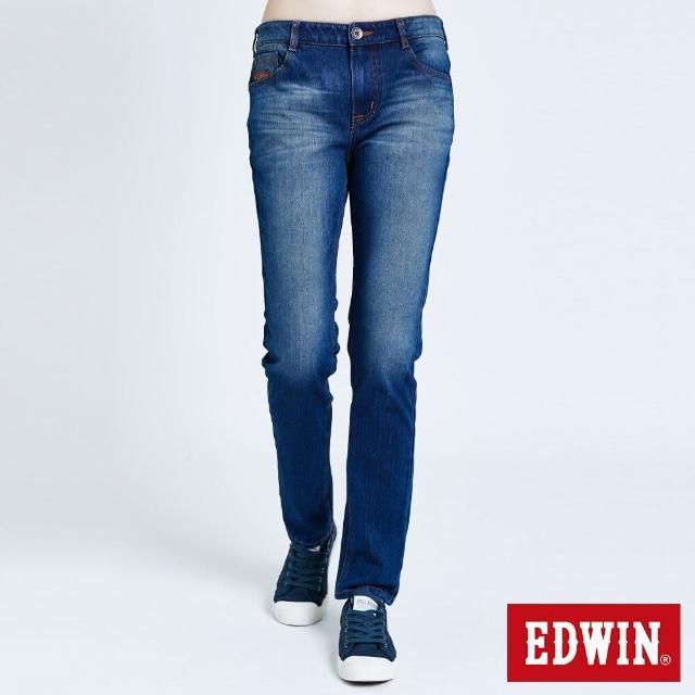 【EDWIN】JERSEYS 迦績EJ7棉錐形長褲-女款(酵洗藍)