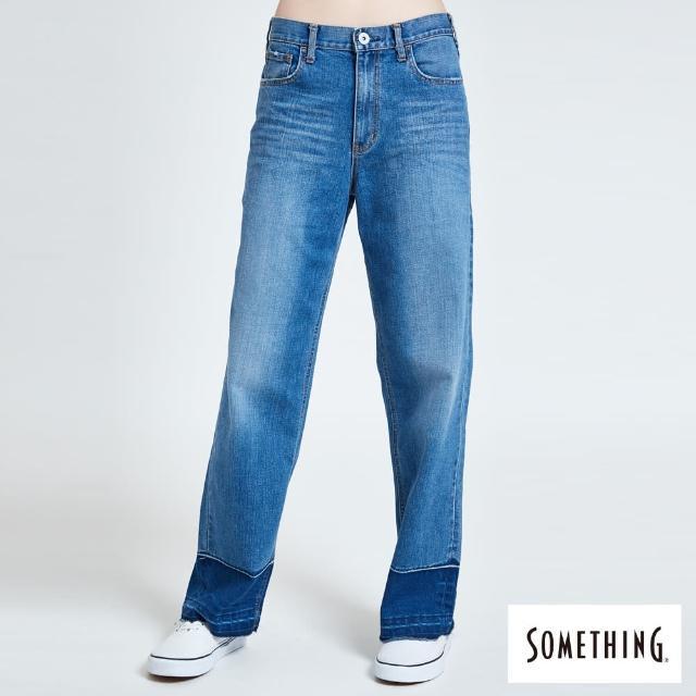 【SOMETHING】CELEB 褲口拆寬直牛仔褲-女款(拔洗藍)