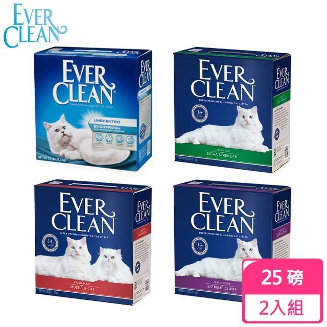 【EverClean 藍鑽】強效凝結除臭結塊貓砂-25磅*2入(美規)