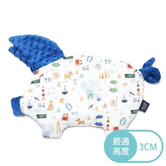 【La Millou】豆豆小豬枕_嬰兒枕(海灘小象-藍-加勒比海藍)