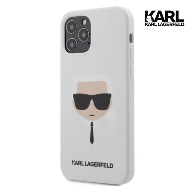 【KARL LAGERFELD 卡爾】大頭IKONIK IPHONE 12/12 PRO手機殼-白(原廠公司貨)