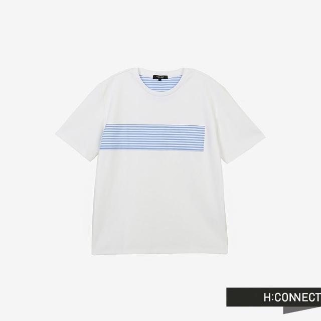 H:CONNECT【H:CONNECT】韓國品牌 男裝 -圓領條紋異材質拼接T-Shirt(白色)