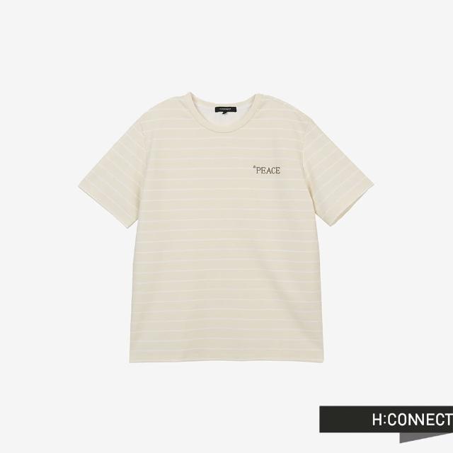 【H:CONNECT】韓國品牌 男裝 -活力圓領條紋英文字樣刺繡T-Shirt(卡其色)