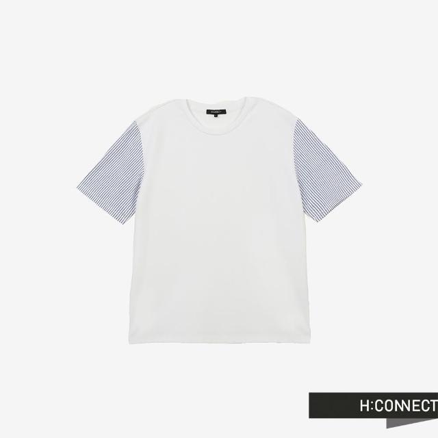 【H:CONNECT】韓國品牌 男裝 -圓領條紋袖口異材質拼接T-Shirt(白色)