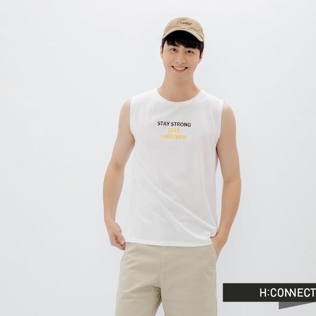 【H:CONNECT】韓國品牌 男裝 -簡約英文個性字樣無袖背心(白色)
