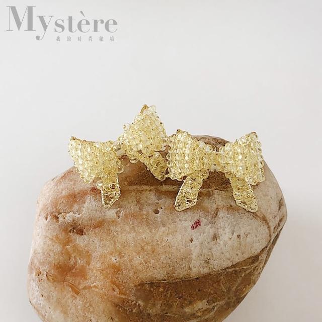 【my stere 我的時尚秘境】秘境限定~春夏糖果色系蝴蝶結水晶耳環(甜美 蝴蝶結 水晶 糖果色)