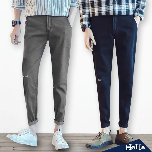 【Heha】長褲 拼色縫線牛仔長褲(三色)