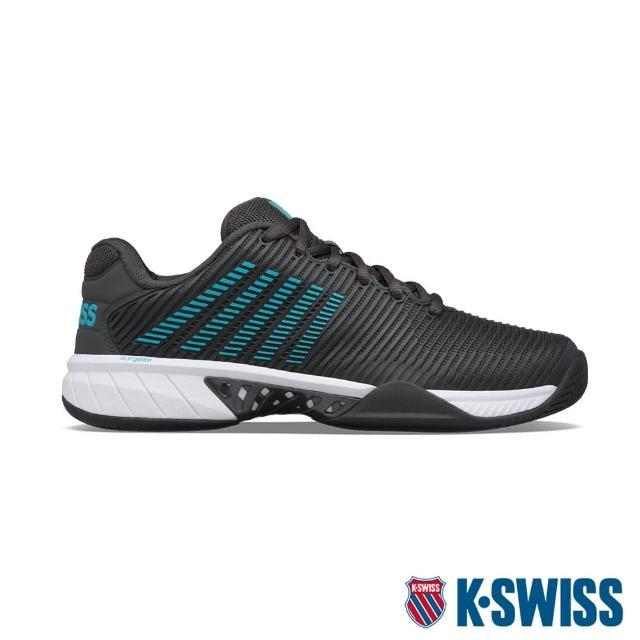 【K-SWISS】透氣輕量網球鞋 Hypercourt Express 2-男-灰/藍綠(06613-028)
