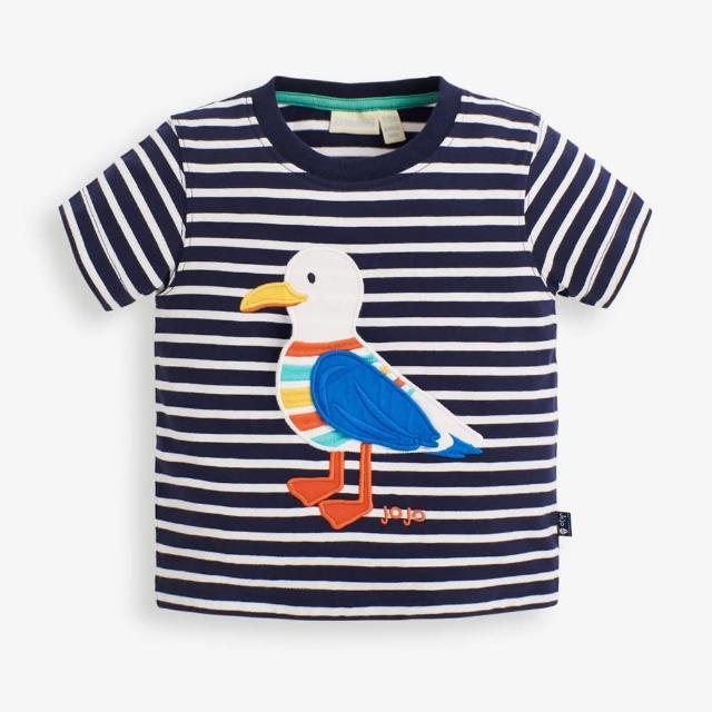 【JoJo Maman BeBe】超優質嬰幼兒/兒童100%純棉短袖上衣/T-shirt/動物T_帥氣海鷗(JJH1548)