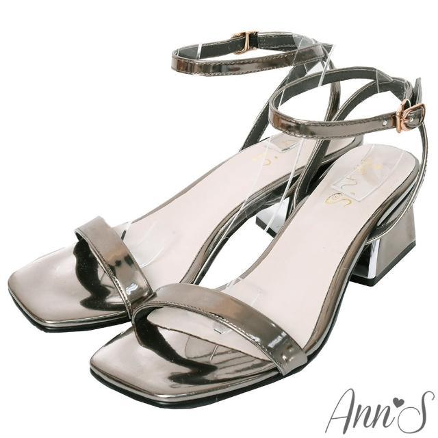 【Ann'S】不踩雷美腿製造機一字帶涼鞋-訂製金屬夾心粗跟-細帶4公分(銀)