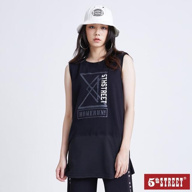 【5th STREET】女拼接中長版背心-黑色