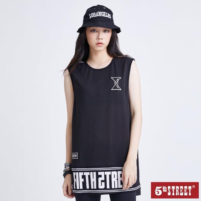 【5th STREET】女網布中長版背心-黑色