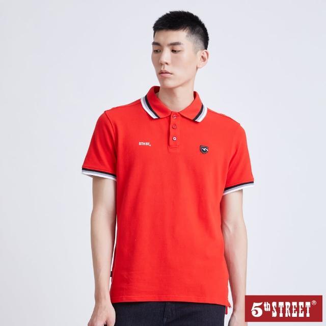 【5th STREET】男配色素面短袖POLO衫-紅色