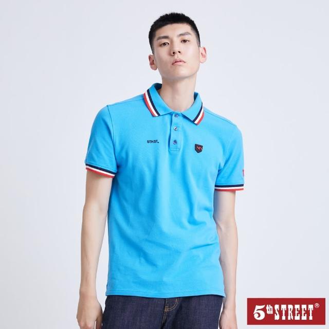 【5th STREET】男配色素面短袖POLO衫-水藍