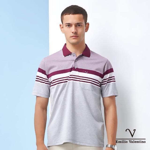 【Emilio Valentino 范倫鐵諾】男裝 義式品味橫紋POLO衫_暗紅/灰/白(15-1V5915)