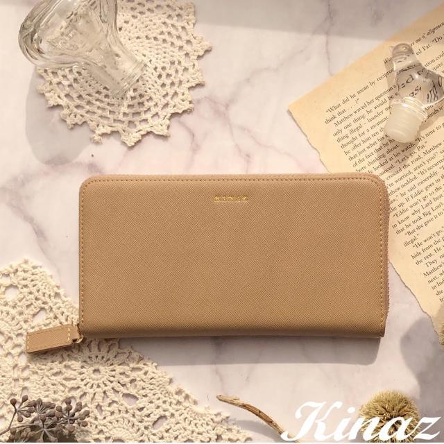【KINAZ】ㄇ型拉鍊防刮紋真皮長夾-太妃焦糖-糖梅仙子系列