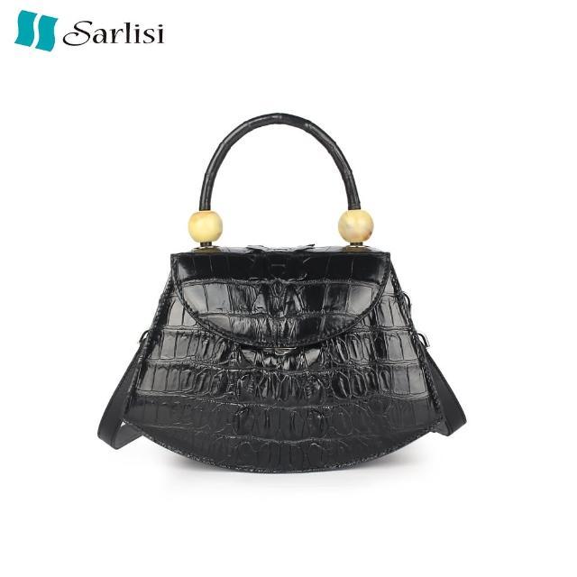 【Sarlisi】真皮鱷魚皮女包單肩包斜背包時尚大氣高檔手提包百搭貝殼包(黑色)