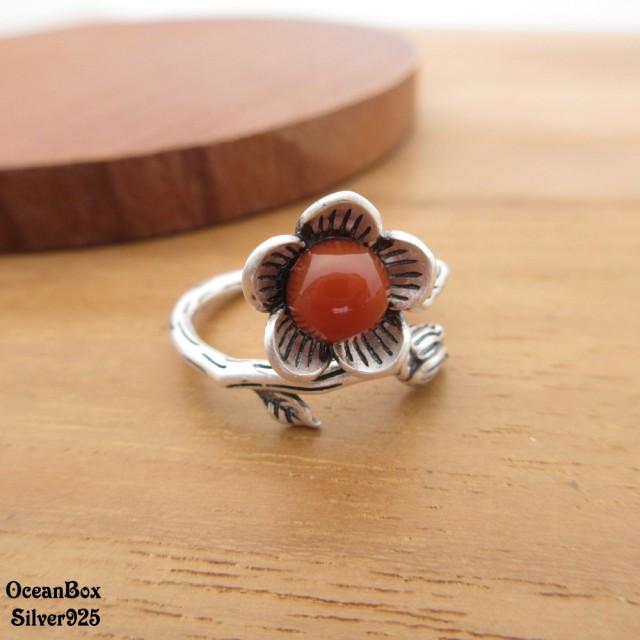 【海洋盒子】開運戒指。南紅瑪瑙梅花925純銀戒指(925純銀戒指.可調整戒圍)