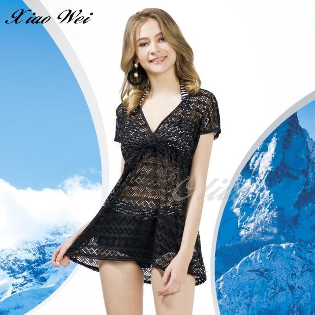 【梅林品牌】時尚流行泳裝/比基尼黑色連身裙罩衫(NO.M94908)