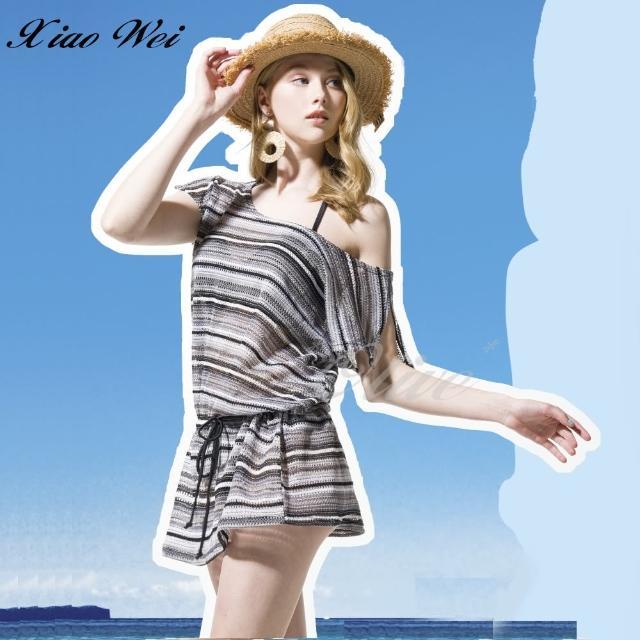 【梅林品牌】時尚流行泳裝/比基尼條紋連身裙罩衫(NO.M94948)