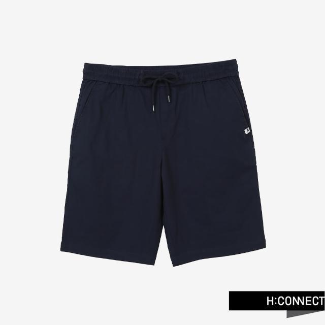 【H:CONNECT】韓國品牌 男裝 -純色綁帶鬆緊休閒短褲(海軍藍)