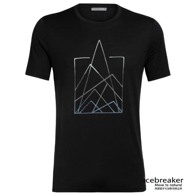 【Icebreaker】男 Tech Lite 圓領短袖上衣-AD150-尖峰石陣-黑(IB104942-001/快乾/排汗/登山健行)
