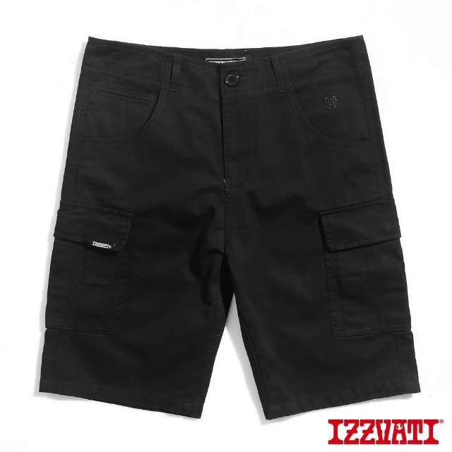【IZZVATI】口袋工作短褲-黑/卡其(品牌刺繡休閒短褲)