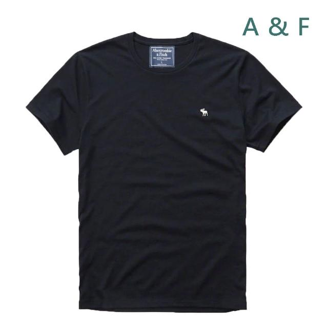 【Abercrombie & Fitch】圓領刺繡麋鹿素色短袖T恤-黑 AF 美國A&F(小Logo u領 1件組)