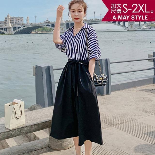 【Amay Style 艾美時尚】洋裝-海洋風直條紋繫帶連身裙。加大碼S-2XL(藍.預購)