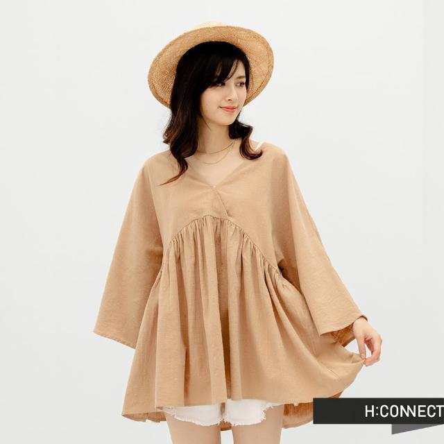 【H:CONNECT】韓國品牌 女裝 -開襟後綁帶縮腰打摺寬版上衣(卡其色)