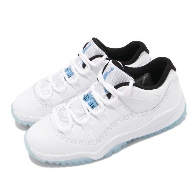 【NIKE 耐吉】休閒鞋 Jordan 11 Retro 童鞋 經典款 喬丹 復刻 皮革 中童 穿搭 白 藍(505835-117)