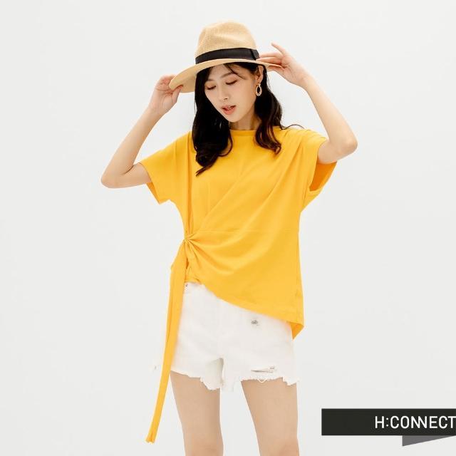 【H:CONNECT】韓國品牌 女裝 -純色不規則衣襬抽繩設計T-Shirt(黃色)