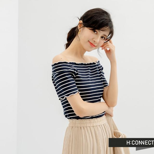 【H:CONNECT】韓國品牌 女裝 -素色條紋捲邊短袖上衣(黑色)