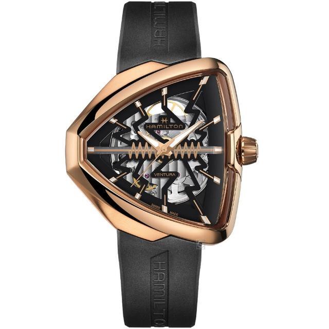 【HAMILTON 漢米爾頓】Ventura 貓王80週年鏤空機械錶(H24525331)
