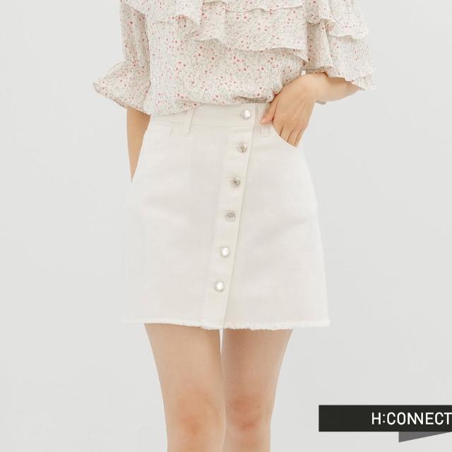 【H:CONNECT】韓國品牌 女裝 -純色斜排釦抓鬚牛仔短裙(白色)