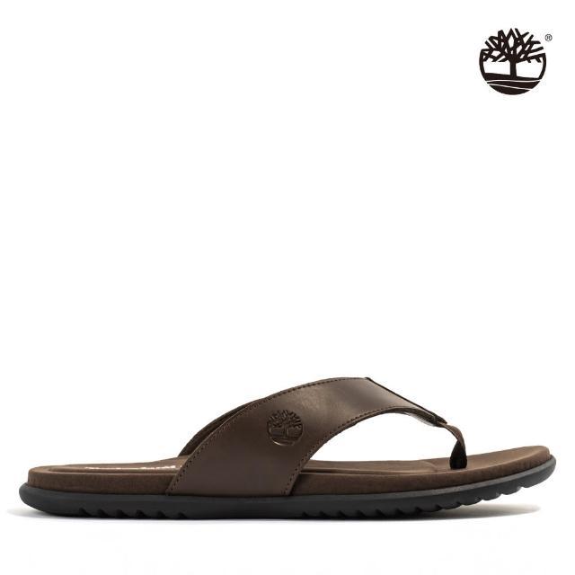 【Timberland】男款深咖啡樹型LOGO人字拖鞋(A2PSZV13)