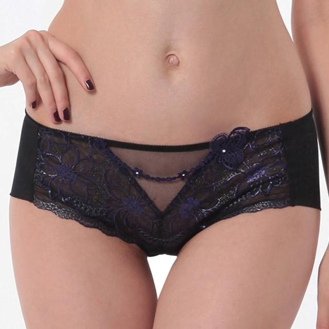 【Lady】奢迷閃耀系列 刺繡低腰平口褲(晶鑽黑)