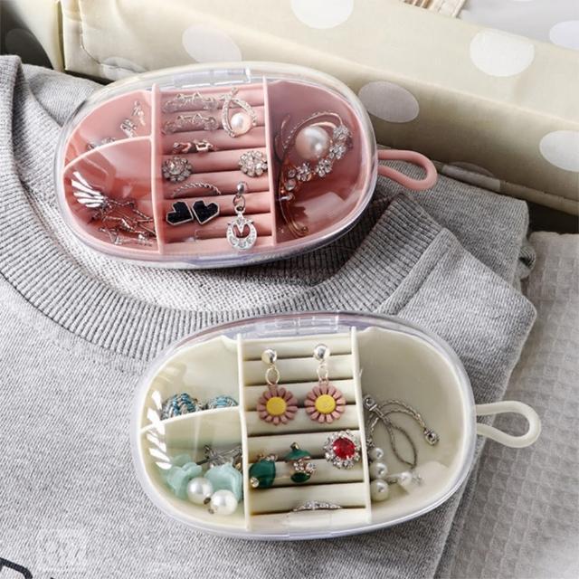 【Dagebeno荷生活】隨身便攜首飾盒 旅行出遊耳環戒指髮飾胸針飾品收納盒