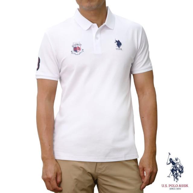 【U.S. POLO ASSN.】網眼徽章短袖POLO衫-純白色(網眼 純白色)