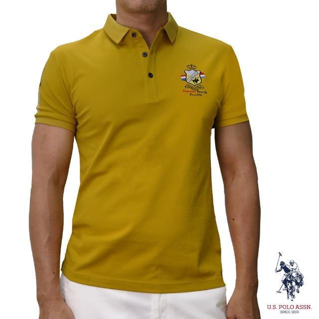 【U.S. POLO ASSN.】簡約徽章短袖POLO衫-黃色(經典LOGO)