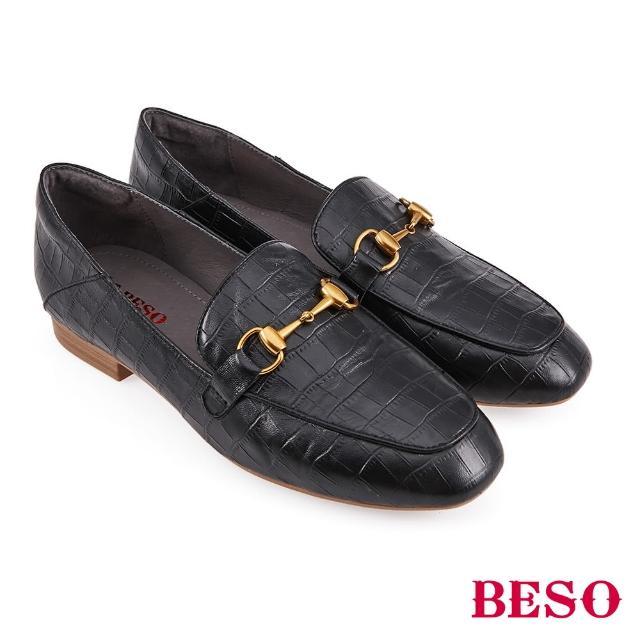 【A.S.O 阿瘦集團】BESO 復古鱷魚壓紋羊皮平底樂福鞋(黑)