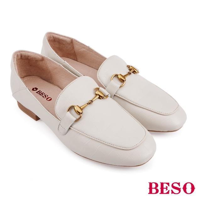 【A.S.O 阿瘦集團】BESO 復古鱷魚壓紋羊皮平底樂福鞋(米)