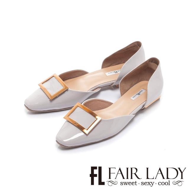 【FAIR LADY】優雅小姐 金屬方釦漆面平底鞋(槿紫、502390)