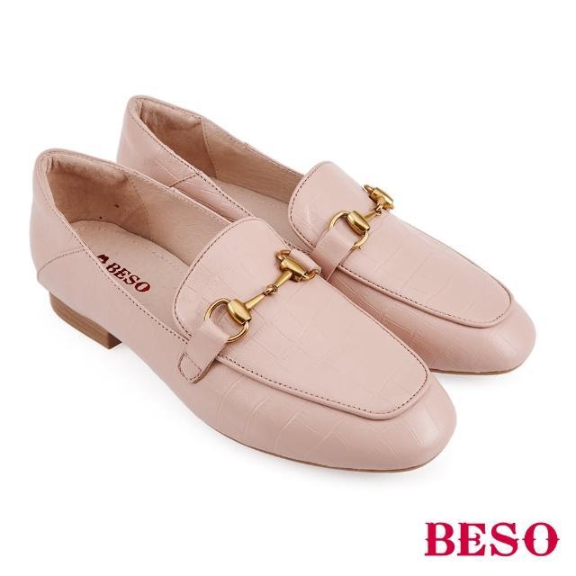 【A.S.O 阿瘦集團】BESO 復古鱷魚壓紋羊皮平底樂福鞋(粉)