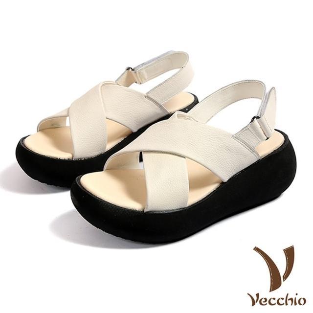 【Vecchio】全真皮頭層牛皮簡約交叉舒適魔鬼粘復古厚底涼鞋(白)
