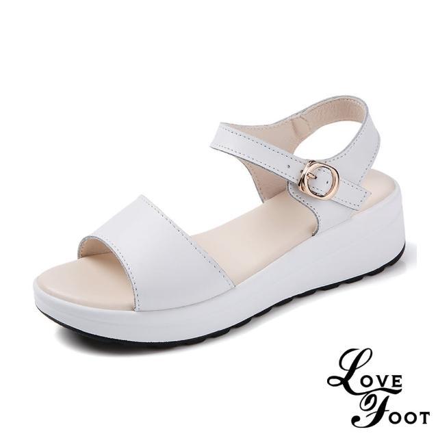 【LOVE FOOT 樂芙】真皮經典純色百搭魚口露趾厚底時尚涼鞋(白)