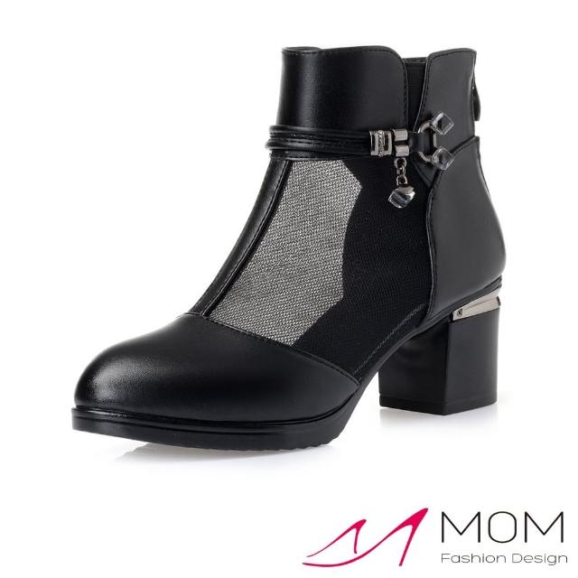【MOM】真皮細緻牛皮唯美透氣網紗拼接粗跟短靴(黑)