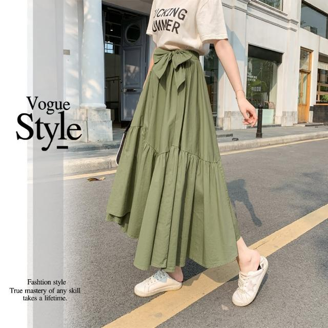 【DU 快時尚】經典款蝴蝶結裝飾不規則下擺造型長裙(F)