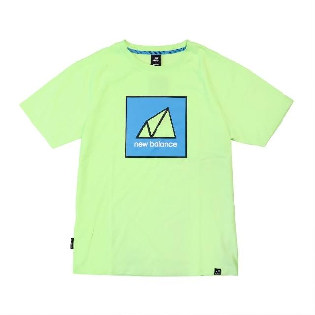 【NEW BALANCE】T恤 NB Outdoor Logo Tee 男款 紐巴倫 戶外運動 厚磅 穿搭 螢光綠 藍(AMT11585BIO)