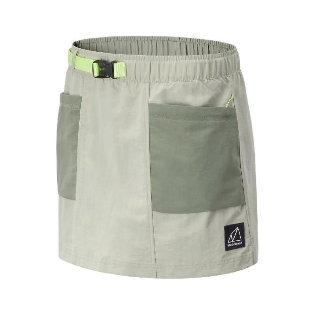 【NEW BALANCE】褲裙 Logo Outdoor Skorts 女款 紐巴倫 腰圍可調 穿搭推薦 膝上 淺褐 綠(WK11590SP4)